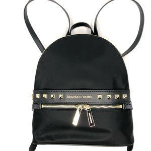 Michael Kors black medium backpack gold studs NWT